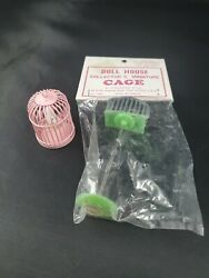 Lot Of 2 Vintage Doll House Bird Cages B.shackman Plastic Cage W/standandpink Cage
