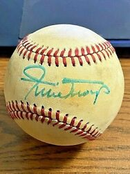 Willie Mays 2 Vintage Signed Autographed Onl Feeney Baseball Giants And Mets