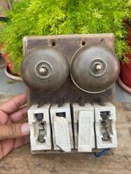 Antique Old Brass Ceramic Brass Beautiful Electric Switch Wooden Board Germany