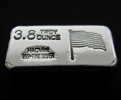 Hacmint 3.8 Oz 999+ Fine Silver American Flag Hand Poured Art Bar