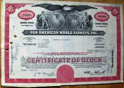 8 Attached Stock Certificates In Sequence + Document Pan Am-pan American World