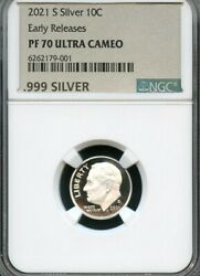 2021 S Silver Roosevelt Dime Early Releases Ngc Pf70 Uc Metallic