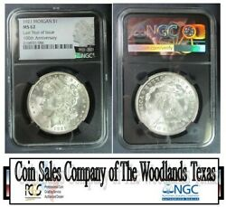 1921 P Morgan Ngc Ms 62 'last Year Of Issue' And '100th Anniversary' On Label