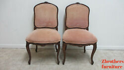 Pair Vintage Baker Furniture French Country Carved Dining Room Side Chairs A