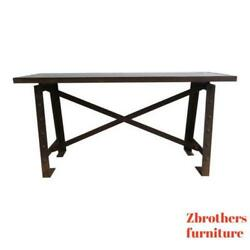 Vintage Industrial Rivet Steel Console Hall Foyer Table