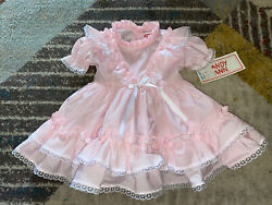 Vintage Kandy Ann Dress Light Pink W/ Ruffles And Lace Size 12 Months Nwt
