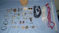 Vtg Lot Costume Jewelry Brooches/pin/necklace/earrings Darice Mannequin Bird +++