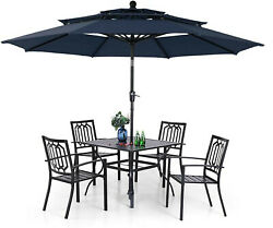 Outdoor Patio Dining Furniture Set Of 6 Chairs Stackable Table With Umbrella