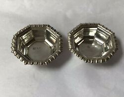 1907 Chester Silver Art Deco Hexagonal Table Salts, James Deakin And Sons. 21.01g