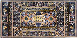 60 X 36 Black Marble Table Top Semi Precious Stone Inlay Work Home And Garden