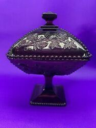 Very Rare Vtg Fenton Amethyst Grape And Leaves Candy/nut Compote Dish W/lid Purple