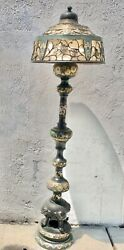 Antique Japanese Ename And Bronze Figural Elephant Floor Lamp W/ Shade