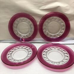 Four 8 1/4 Inch Ruby Red Thumbprint Dishes 1458