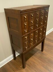 Vintage Oak Wood 30 Drawer Library Card Cabinet / Index File With Brass Pulls