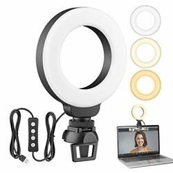 4'' Small Led Ring Light For Laptop Video Conference Lighting W Clip Webcam Comp