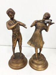 Brass Musician Boy And Girl Figurines Playing Violin And Flute - Sculptures