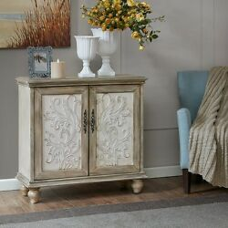 2 Door Cabinet Reclaimed Wood Finish Storage Accent Chest With Shelf Scrollwork