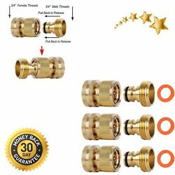 Garden Hose Quick Connectors Solid Brass 3/4 Ght Thread Easy Connect Fittings