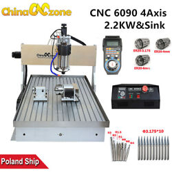 2200w Cnc 6090 4axis Engraver Machine Milling Cutting Diy Router With Water Sink