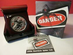 2006 Tuvalu Australia Deadly And Dangerous Red-backed Spider 1oz Silver Proof Coin