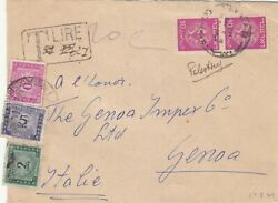 Israel 1949 Cover Sent To Genova Italy Taxed By Postage Due Stamps Rrr