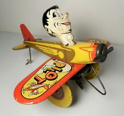 Vintage 1940and039s Marx Rookie Pilot Airplane Tin Wind-up Toy Plane Motor Works