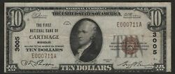 National Bank Note 1929 Carthage Missouri Ch3005 F-vf 10 Note Type I 5 Known