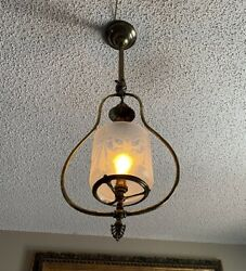 Antique 1890andrsquos Gas Pendant Light Andndash Orig Deep Etched Shade