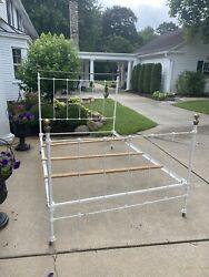 Antique Iron Brass Bed White Double/full Size Could Fit Queen See Measurements