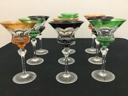 French Baccarat Multi-colored Faceted Cut To Clear Crystal Glasses Set Of 10