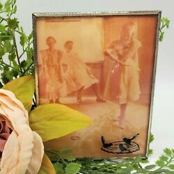Vintage Convex Glass Silhouette Picture Dance Class Dancing Girls Brass Frame