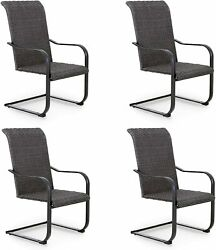 Outdoor Rattan Chairs Set Of 4 C-spring Wicker Dining Chairs Patio Furniture