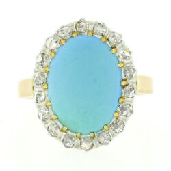 Antique 18k Rosy Gold Platinum Oval Cabochon Persian Turquoise Diamond Halo Ring