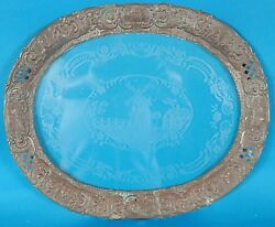 Antique Embossed Copper Glass Tray Etched Duch Windmill Scene