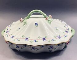 Herend Blue Garland China Covered Dish W Roses Pbg 51 3 Pint Pre-owned But Mint