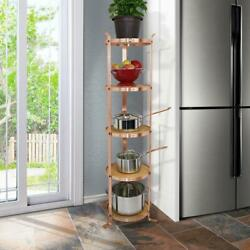 Cookware Rack Stand Pot Storage Handcrafted 5 Tier Round Designer Brushed Copper