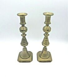2 Vintage Brass English Beehive Antique Candlestick Holders marked ENGLAND