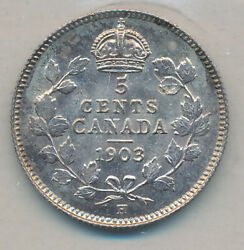 Canada Edward Vii Silver 5 Cents 1903 H Small H - Iccs Ms-64