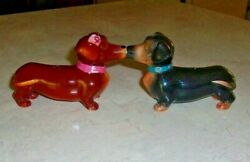 Vintage Anthropomorphic Dachshund Dogs Kissing Magnetic Salt And Pepper Shakers