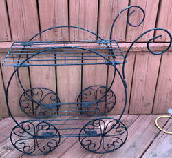 Vintage Metal Ornate Flower Plant Stand Patio Outdoor Beverage Cart Style