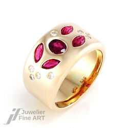 Ring - 585/14k Yellow Gold - Ruby And Diamonds - 0.4oz - Size 61