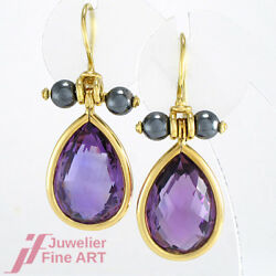 Earrings 750/18k Yellow Gold With 2 Amethyst Approx. 30 Ct - 0.5oz Fine Handmade