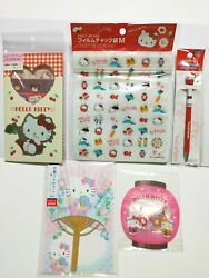 Sanrio Hello Kitty Stationery Set Limited To Japan Stickers Paper Fan Zipper Bag