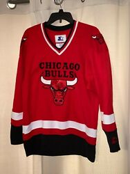 Vintage Chicago Bulls Men's Small Hockey Jersey Starter Red Color Jersey