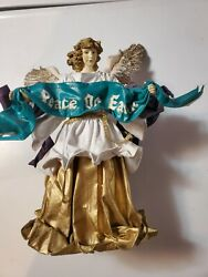 """Vintage Angel Paper Mache Christmas Tree Top Holiday 11"""" 1989 Peace On Earth"""