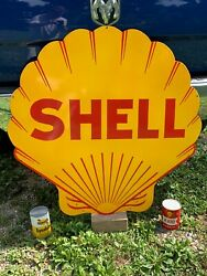 Shell Gasoline Large Heavy Porcelain Sign 39.5x 39.5 Near Mint Nice