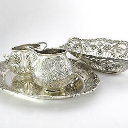 Antique Set Silver 4-teilig 800er Silver Bowl Tray And 2 Containers 19.4oz