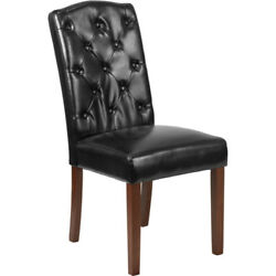 Hercules Grove Park Series Black Leather Tufted Parsons Chair