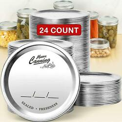 24 Pack, Wide Mouth Canning Lids For Mason Jars Split-type Metal Lid For Ball