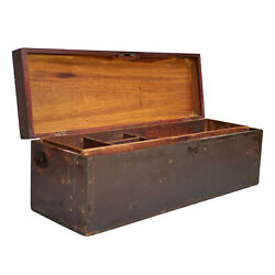 Antique Farmhouse Wood Dovetailed Pine Tool Box Machinist Chest
